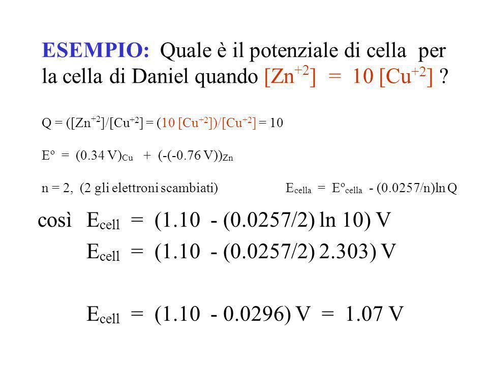 ESEMPIO: Quale è il potenziale di cella per la cella di Daniel quando [Zn+2] = 10 [Cu+2] Q = ([Zn+2]/[Cu+2] = (10 [Cu+2])/[Cu+2] = 10 Eo = (0.34 V)Cu + (-(-0.76 V))Zn n = 2, (2 gli elettroni scambiati) Ecella = Eocella - (0.0257/n)ln Q
